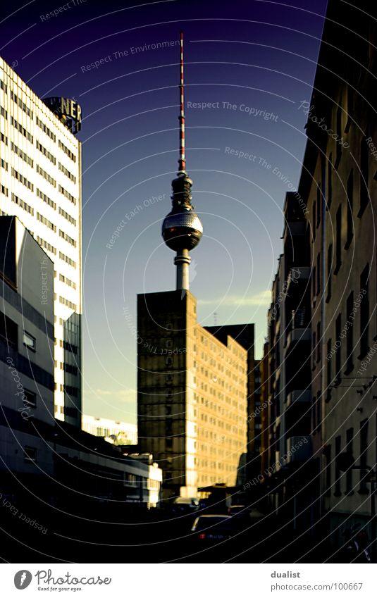 television tower Sunset Landmark Monument Sky alex Berlin FinePix s5pro Blue