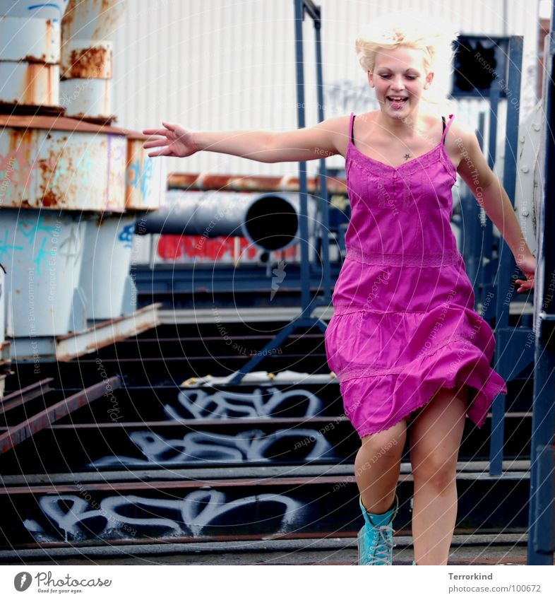 I get up... Jump Steel Steel carrier Slow motion Snapshot Dress Pink Chucks Turquoise Hand Weightlessness Upper body Hannover Roof House (Residential Structure)