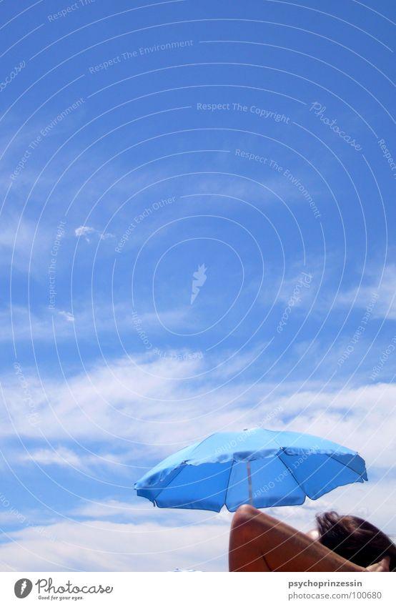 Sky Blue Vacation & Travel Ocean Summer Beach Clouds Calm Relaxation Legs Arm Lie Umbrella Sunbathing Knee