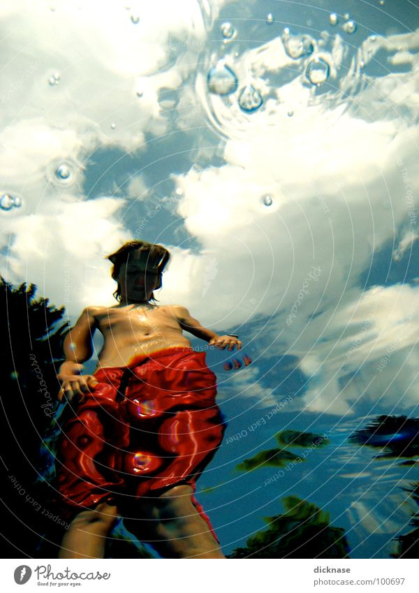 Sky Red Summer Clouds Warmth Swimming pool Physics Swimming & Bathing Distorted Swimming trunks Surface of water