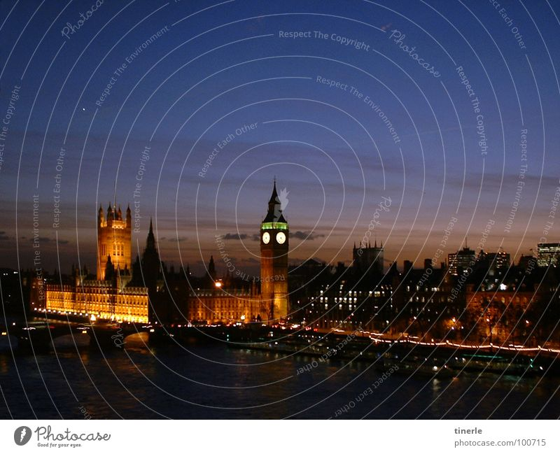 Vacation & Travel Architecture London Night Visual spectacle Houses of Parliament Themse Big Ben