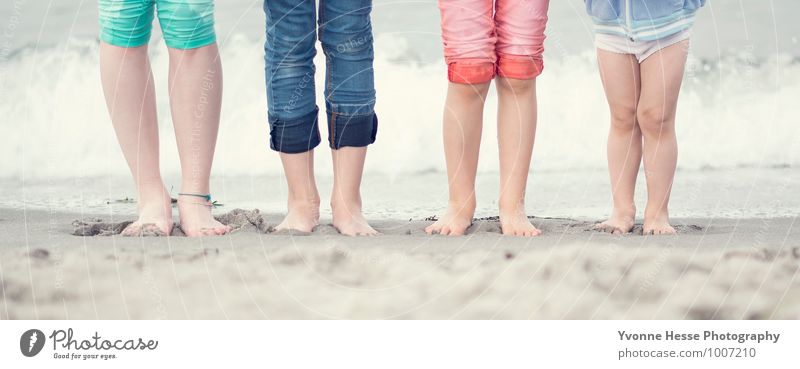 Human being Child Nature Water Sun Girl Boy (child) Playing Sand Brown Feet Horizon Friendship Lifestyle Contentment Infancy