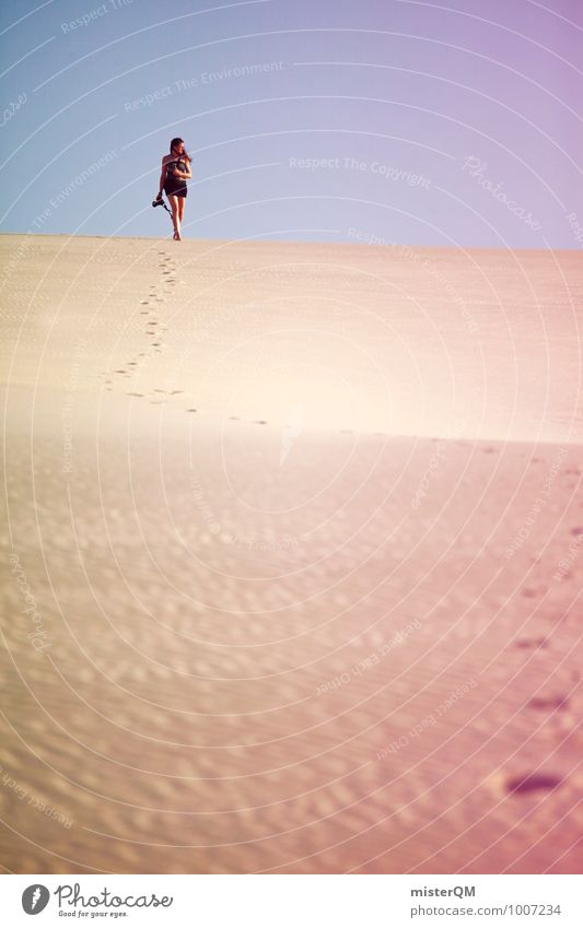 Wandering Dune III Art Esthetic Contentment Model Desert Mirage Warmth Going Loneliness Climate Hiking Adventure Colour photo Subdued colour Exterior shot