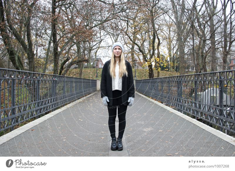 Human being Woman Nature Youth (Young adults) White Tree Young woman 18 - 30 years Winter Black Adults Feminine Gray Fashion Metal Body