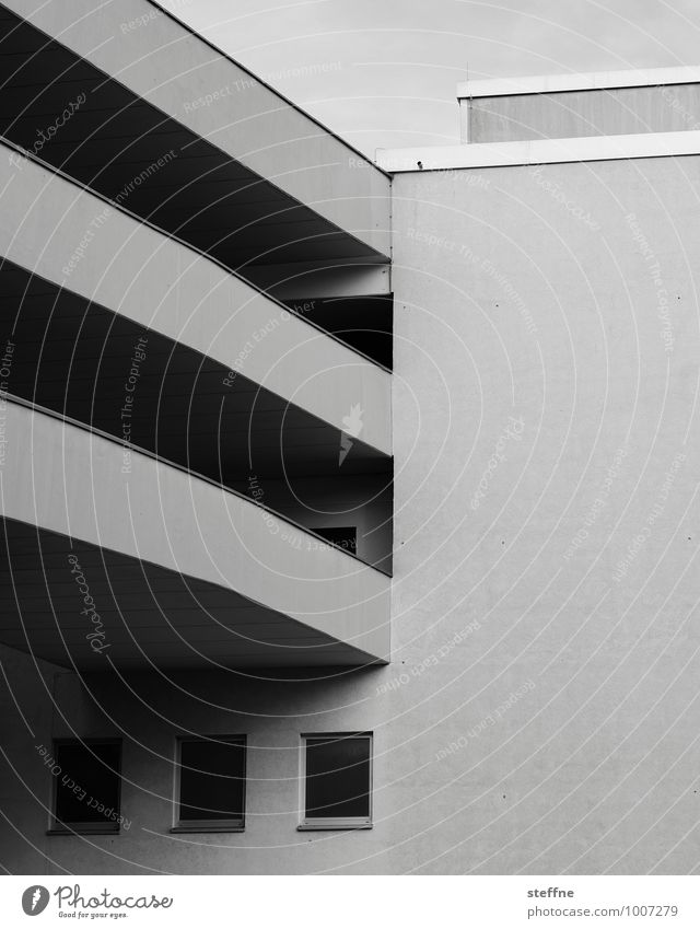 Around the World in Germany: Kassel Parking garage Transport Motoring Town Architecture Contrast Modern architecture Black & white photo