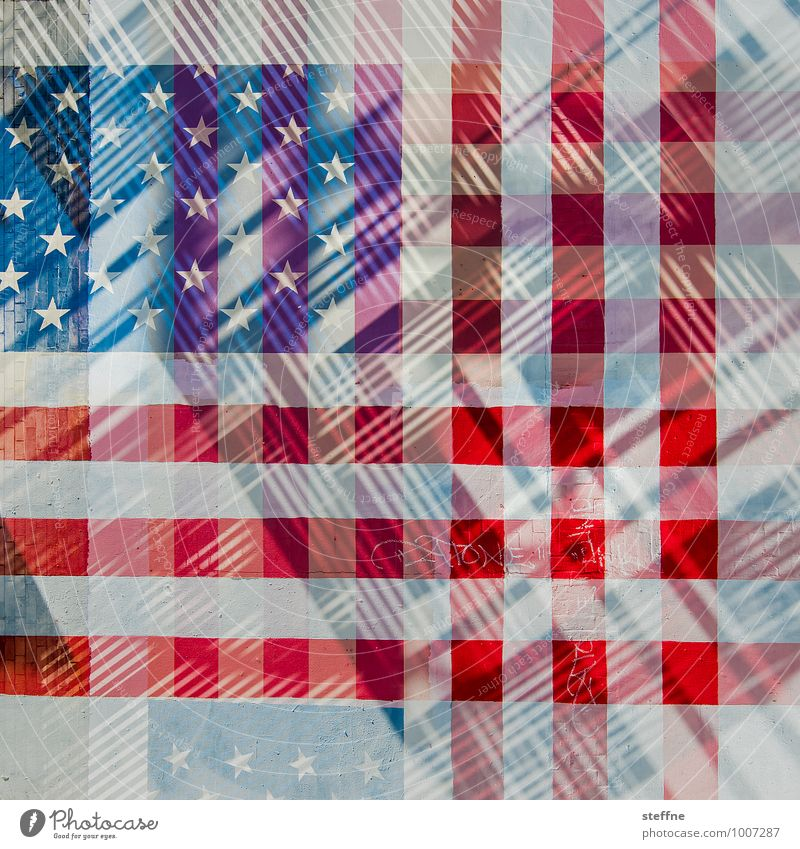 America deconstructed Sign Blue Red USA American Flag Double exposure Americas Checkered Colour photo Multicoloured Experimental Abstract Copy Space bottom