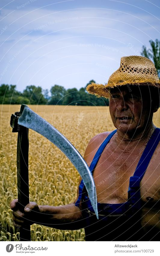 Grandpa Grim Reaper The Grim Reaper Scythe Field Agriculture Farmer Grandfather Man Brown Sunbathing Leather Executioner Tee off Wheat Overalls Old Straw hat