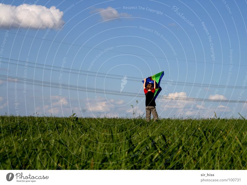 Blue Green Red Summer Joy Clouds Meadow Playing Warmth Wind Field Dangerous Rope Electricity Threat Physics