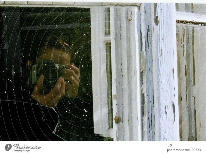 SElbst_POrtRAIT Shard Window frame Dust White Broken Calm Derelict Glass