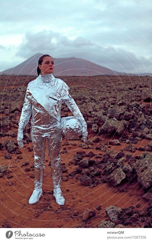 Hello IV Art Adventure Esthetic Astronaut Silver Mars Martian landscape Stony Planet Wanderlust Woman Emancipation Universe Colour photo Exterior shot