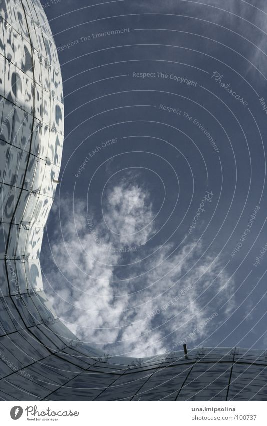 Blue White Clouds Architecture Facade Waves Glass Letters (alphabet) Seam Swing Library Grid Sky blue Printed Matter Organic Cottbus