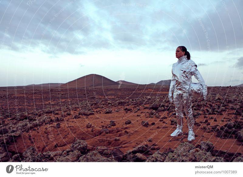 Hello VI Art Work of art Stage play Actor Adventure Esthetic Woman Pioneer Emancipation Futurism Future Astronaut Mars Martian landscape Colour photo