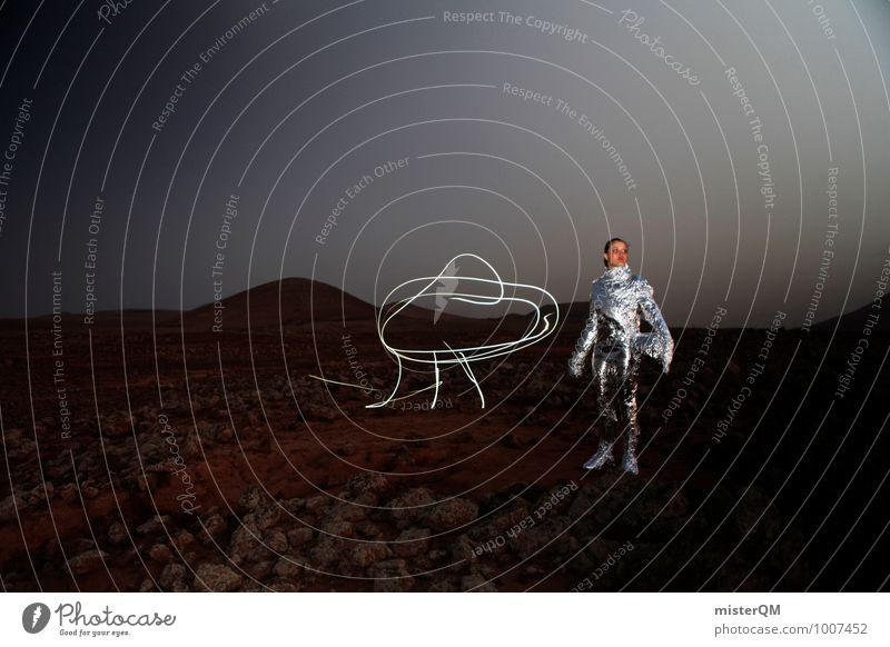 Hello X Work of art Esthetic UFO Captain Astronaut Space station Pride Space suit Mars Martian landscape Woman Emancipation Profession Airplane landing Pioneer