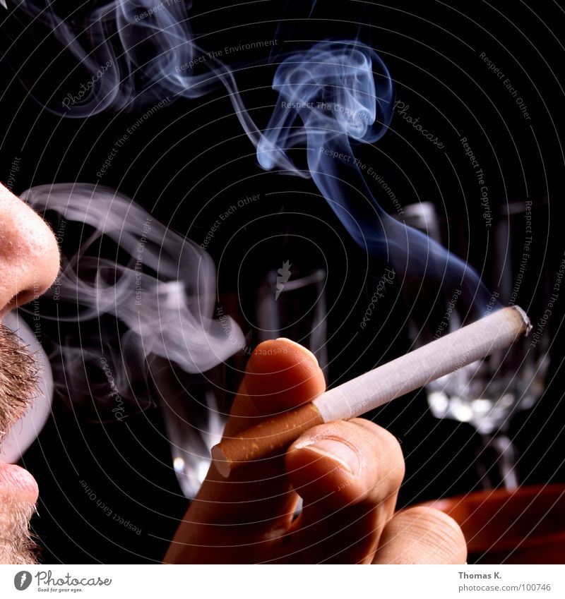 Hand Black Face Illness Tobacco products To enjoy Smoke Cigarette Unhealthy Designer stubble Stubble Beard hair Unshaven Cancer Nicotine Inhale