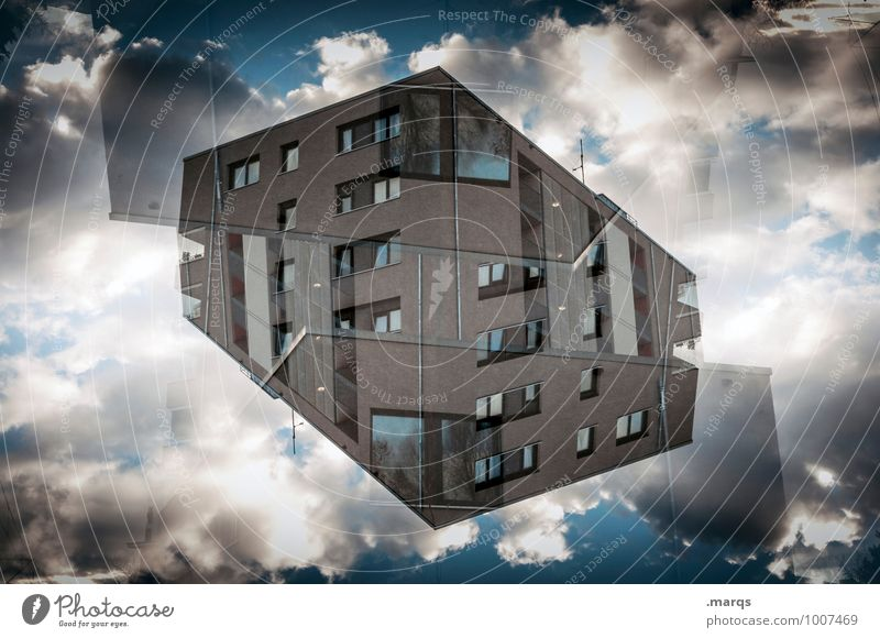 cube Style Design Living or residing Flat (apartment) House (Residential Structure) Sky Clouds Manmade structures Building Architecture Office building Facade