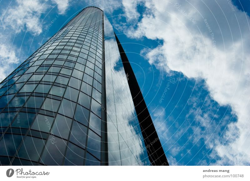 Up in the sky Frankfurt Building High-rise Town Clouds Sky Mirror Facade House (Residential Structure) Modern cloud Glass Tall high Blue