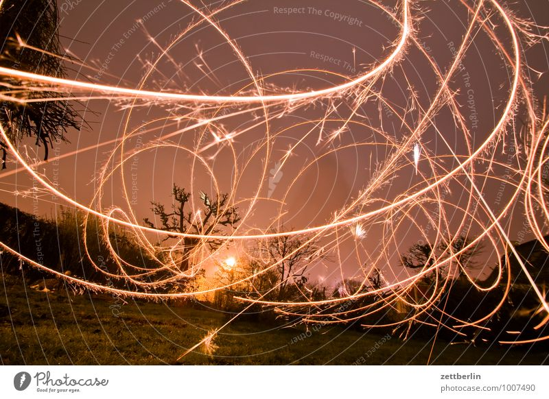 New Year's Eve in the garden Christmas & Advent December Dark Illumination Light Party Moody Sparkler Tracer path Light show Long exposure Curve Line Night Sky