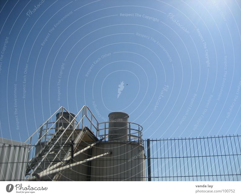 gravel plant Gravel plant Fence Midday Steel Building Industry Stairs Sun Sky Blue Tower Chimney Ladder
