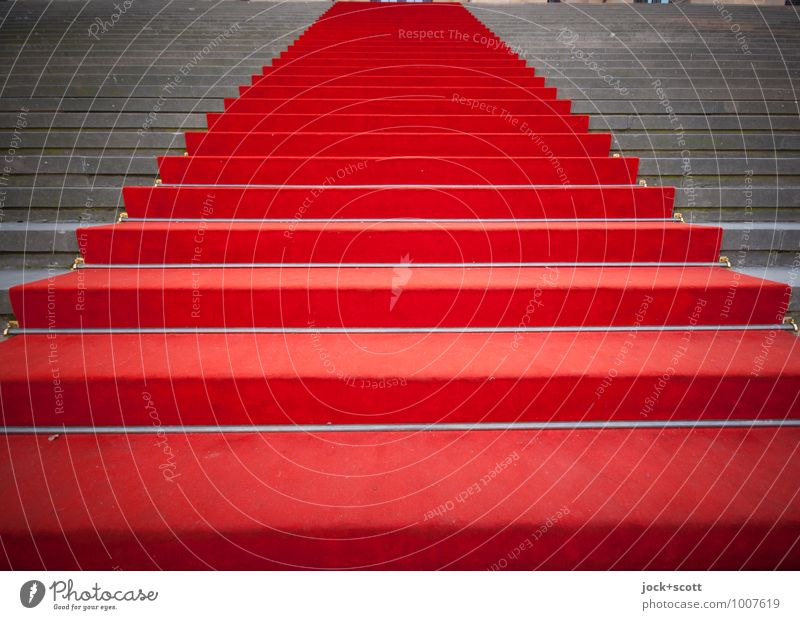Stepwise upwards Culture Stairs Red carpet Tall Reliability Honor Success Authentic Pride Symmetry Tradition Lanes & trails Pecking order Structures and shapes