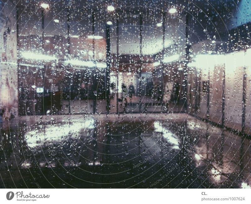 cold front Water Drops of water Autumn Weather Bad weather Storm Rain Deserted Building Architecture Window Window pane Light Glass Dark Cold Wet Sadness