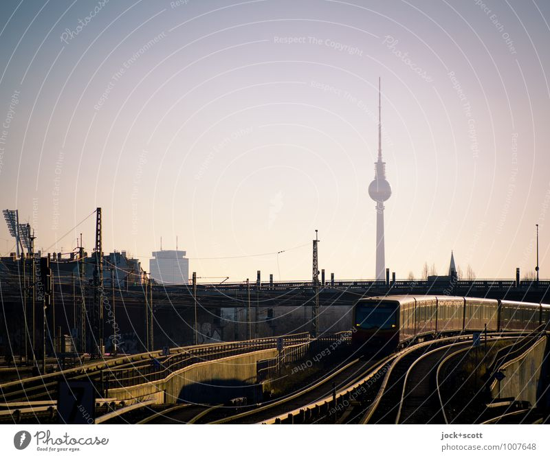 Train to train to the next station Summer bridge Landmark Berlin TV Tower Commuter trains Railroad system Long Speed Town Moody Trust Dependability Prompt