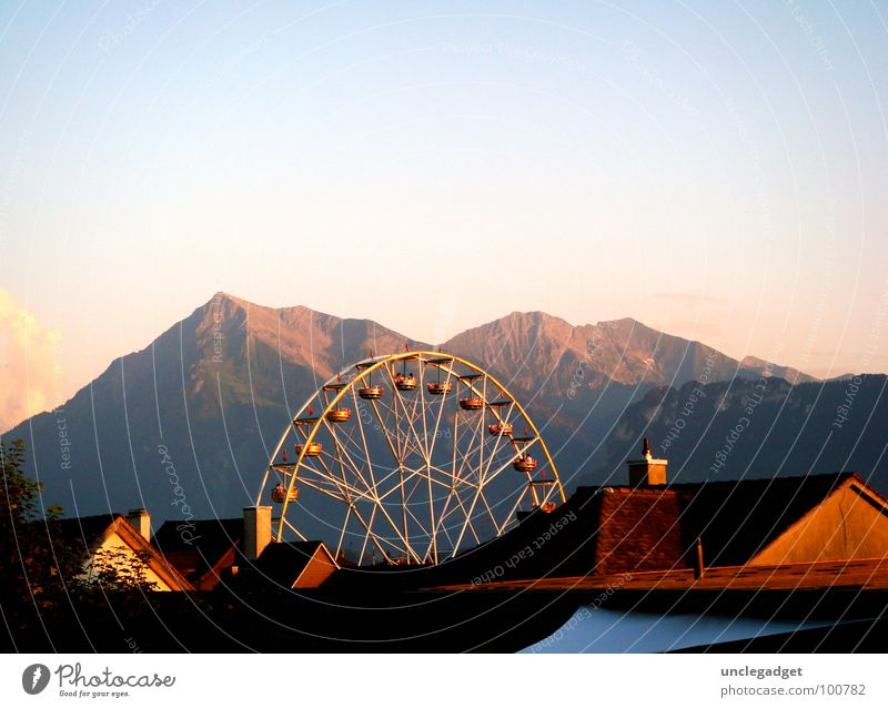 sightseeing flight Ferris wheel Panorama (View) Thun Roof Fairs & Carnivals Set Airy Fantastic Bernese Oberland Switzerland Summer Mountain Sky Evening