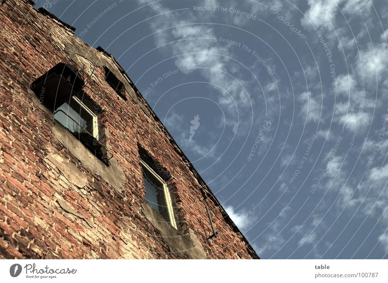 Sky Old House (Residential Structure) Window Building Germany Arm Empty Poverty Transience Derelict Brick Shabby Society Living room Window pane