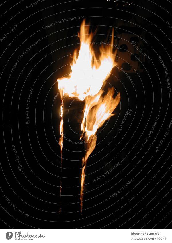 Swedish fire Swedish fire column Embers Wood Burn Tree trunk Flame bam trunk