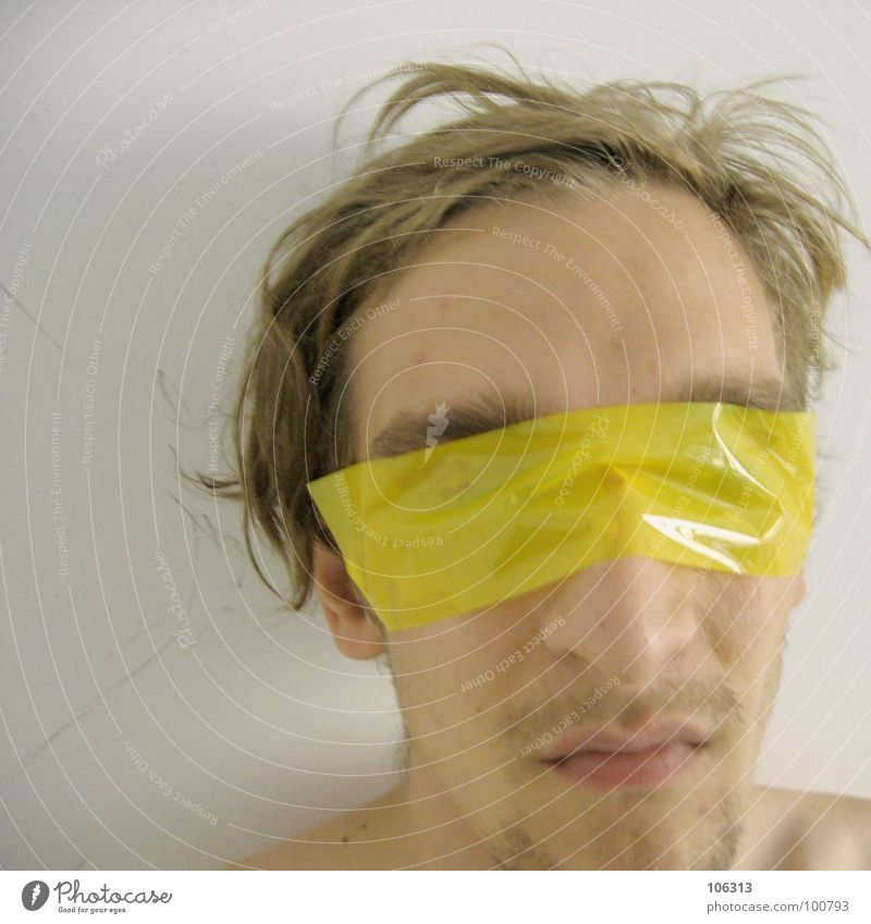 DON'T TRUST THE DEVIL [0125/02] Devil Blindfold Connectedness Vision Scythe Man Adhesive tape Performance art Art Esthetic Contents Yellow Skeleton Vessel