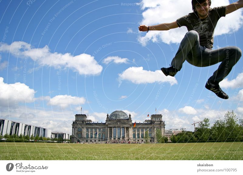 Green Summer Joy Meadow Playing Berlin Jump Art Germany Flying Tall Large Exceptional Trip Action Aviation