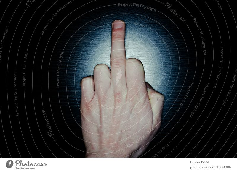 Oh fuck.... Body Skin Hand Fingers Blue Black Hatred Anger Give the finger Gesture Indicate Colour photo Interior shot Studio shot Copy Space left