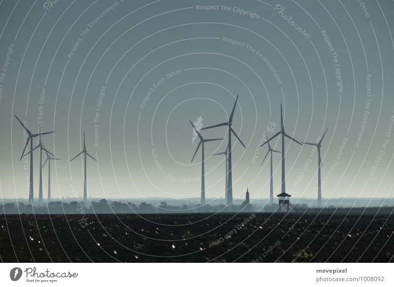 Future wind turbines? Energy industry Renewable energy Wind energy plant Environment Autumn Winter Small Town Industrial plant Church Hunting Blind