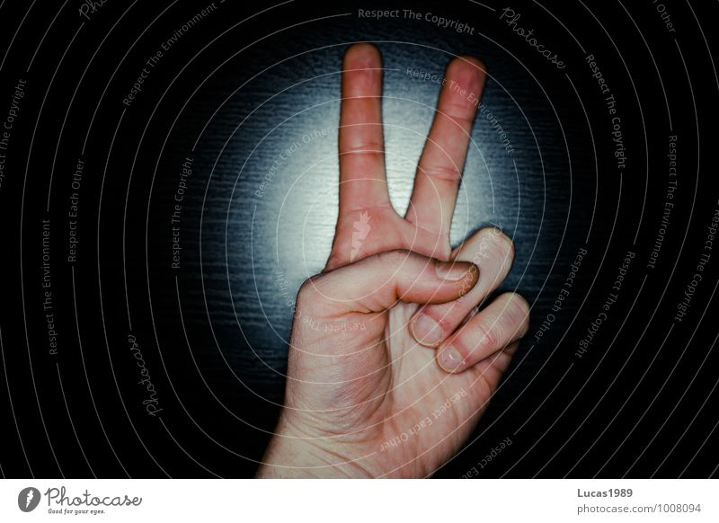 Two, Peace, Scissors Skin Hand Stone Paper two Blue Red Black Indicate Gesture Colour photo Interior shot Studio shot Copy Space left Copy Space right