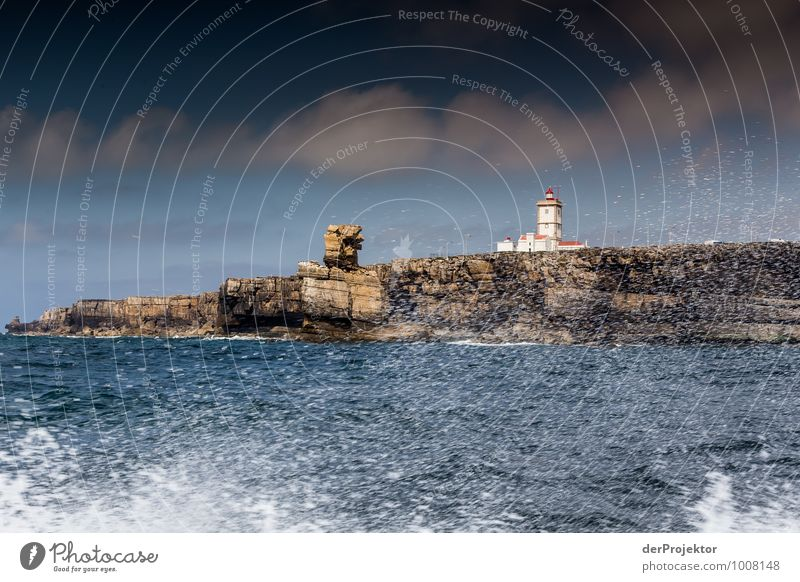 Lighthouse at Cabo Carvoeiro with spray Leisure and hobbies Vacation & Travel Tourism Trip Adventure Far-off places Freedom Summer vacation Waves Environment