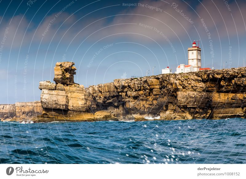 Lighthouse at Cabo Carvoeiro with rock man Leisure and hobbies Vacation & Travel Tourism Trip Adventure Far-off places Freedom Environment Nature Landscape