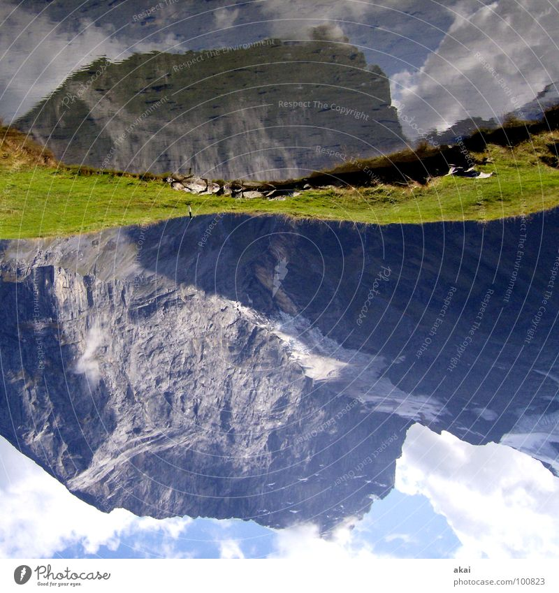 Titlis Play of colours Sky blue Warped Engelberg Switzerland Fürenalp Cable car Reflection Alpine Clouds On the head Go crazy Grass Green Wet Lake Pond Mountain