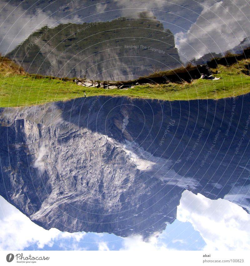 Water Sky Green Clouds Colour Grass Mountain Lake Wet Switzerland Alps Pond Mountaineering Warped Sky blue Alpine