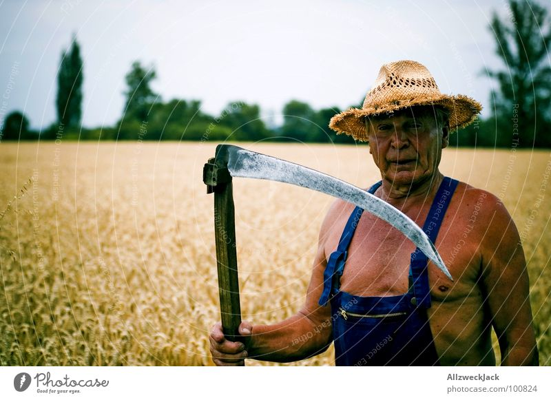 Sens(e)ibel The Grim Reaper Scythe Field Agriculture Farmer Grandfather Man Brown Sunbathing Leather Executioner Tee off Wheat Overalls Old Straw hat
