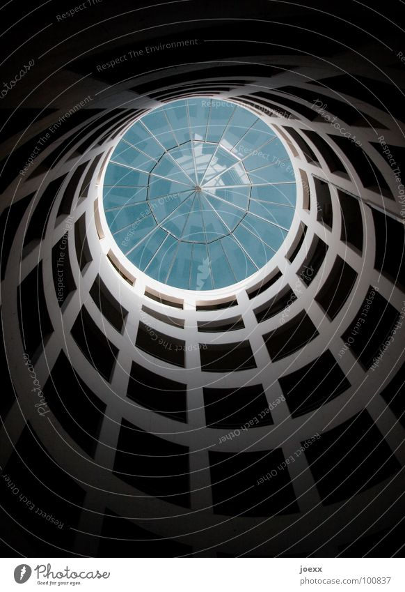 spiral Expressway exit Vantage point Concrete Window Building Light Round Detail Modern Sky Blue Glass Circle Upward Above Shadow Architecture
