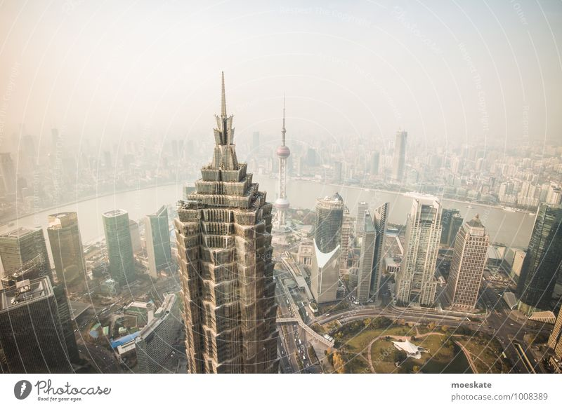 Shanghai Pu Dong China Asia Town Downtown Skyline Populated House (Residential Structure) High-rise Bank building Tower Gigantic Modern Gray Colour photo
