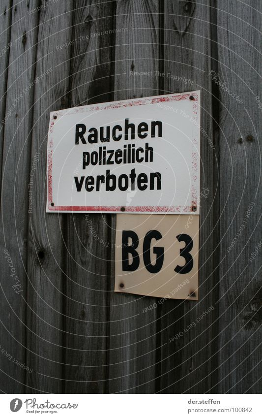 smoke Colour photo Exterior shot Neutral Background Day Smoking Signs and labeling Signage Warning sign Bans Thuringia Gleichamberg by the police