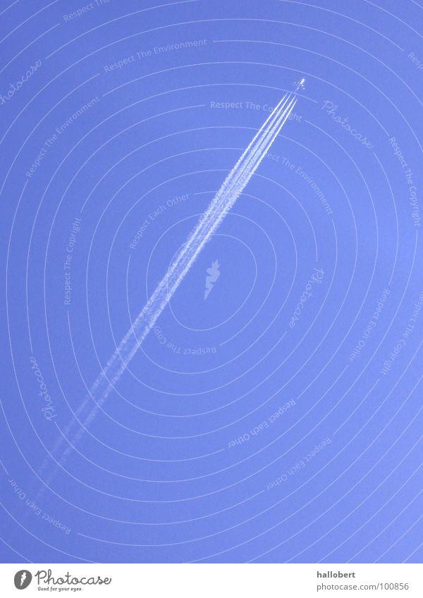 Airplane Airport Tails Blue sky Jet Vapor trail Passenger plane