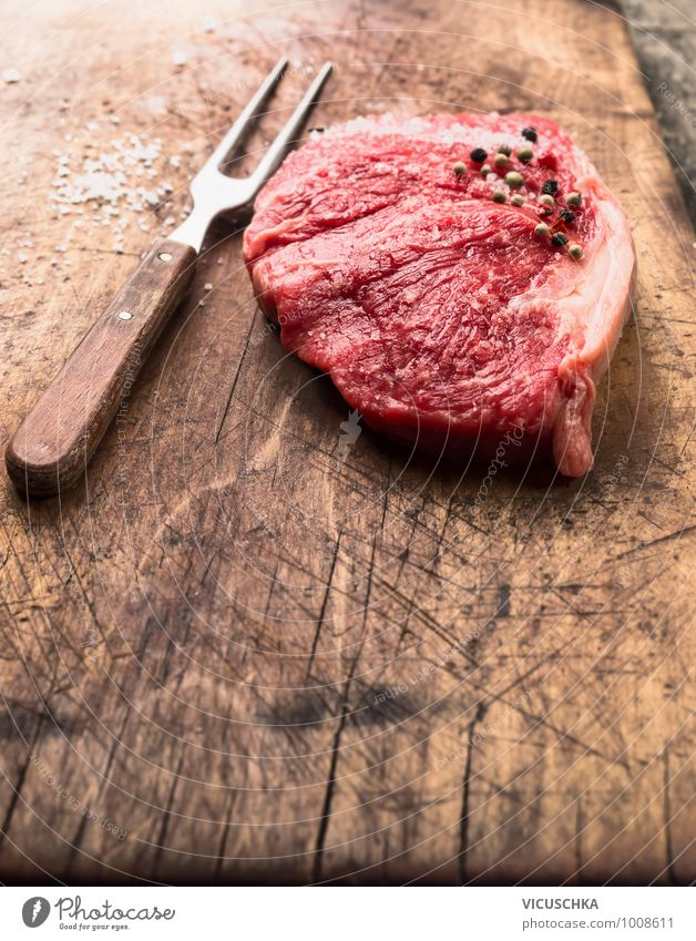 Raw roast beef with meat fork, salt and pepper Food Meat Nutrition Lunch Dinner Organic produce Diet Fork Style Design Healthy Eating Kitchen raw striploin