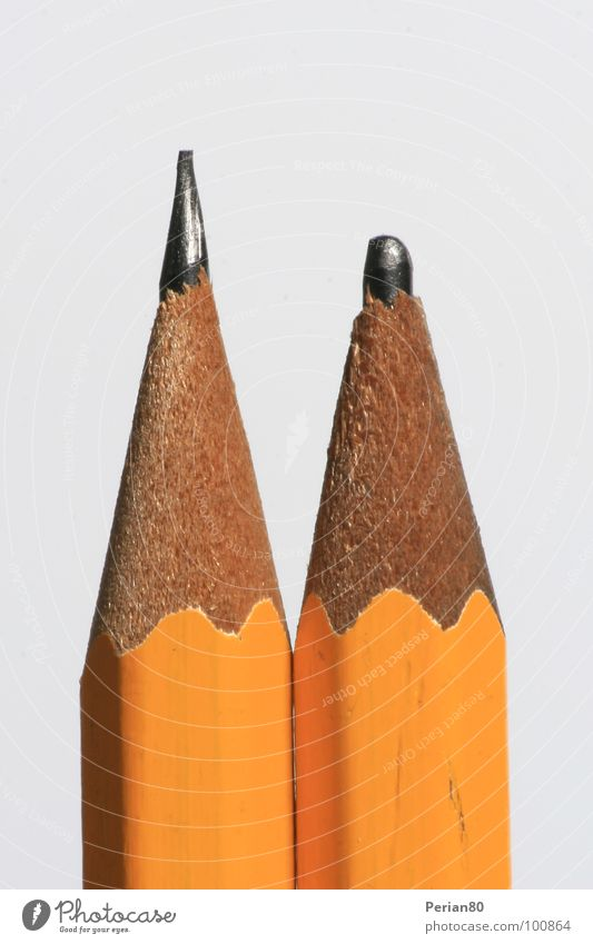 Good mine, bad mine Pencil Wood Graphite Carbon Dull White 2 Macro (Extreme close-up) Close-up Point Orange Detail Structures and shapes two spiky pike withe