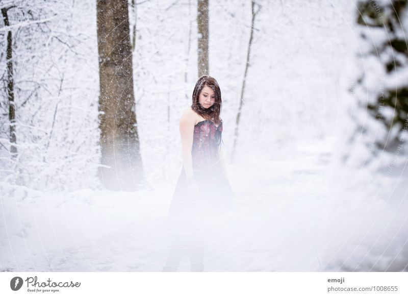 snow Feminine Young woman Youth (Young adults) 1 Human being 18 - 30 years Adults Environment Nature Winter Snow Snowfall Exceptional Cold Colour photo