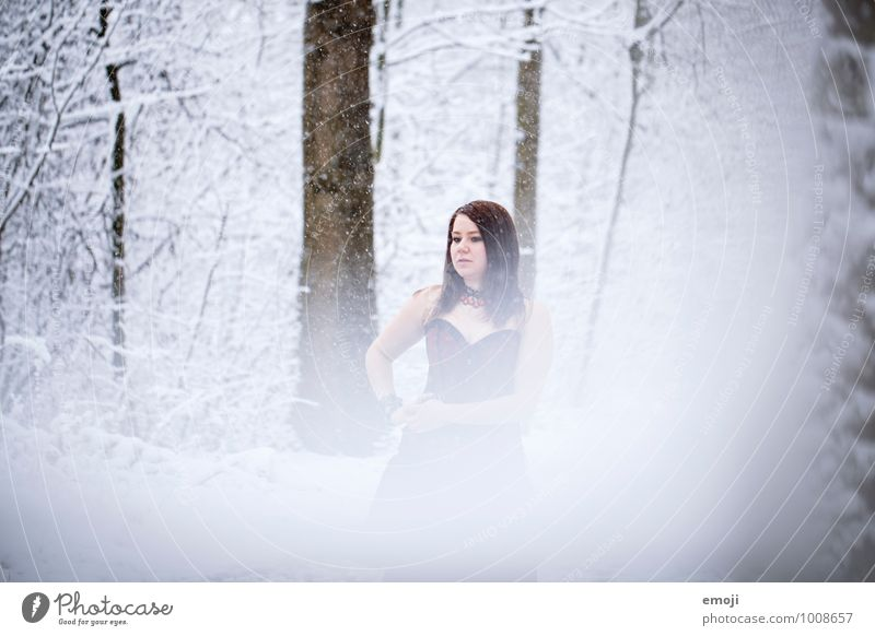 snow Feminine Young woman Youth (Young adults) 1 Human being 18 - 30 years Adults Environment Nature Winter Snow Snowfall Forest Cold White Colour photo