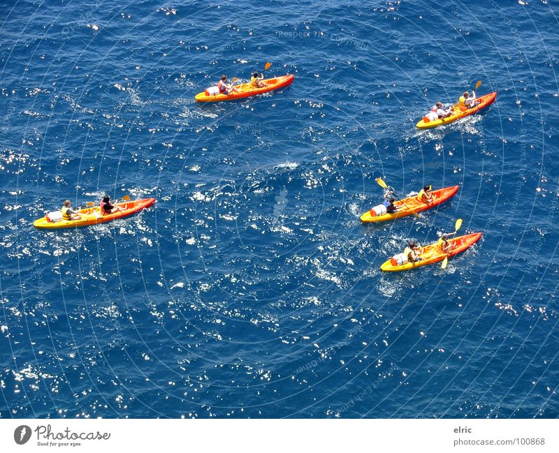 blue-orange Ocean Canoe 5 Multicoloured Watercraft Paddling Aquatics Vacation & Travel Summer Bird's-eye view Rowing Adventure Waves Exterior shot Sports