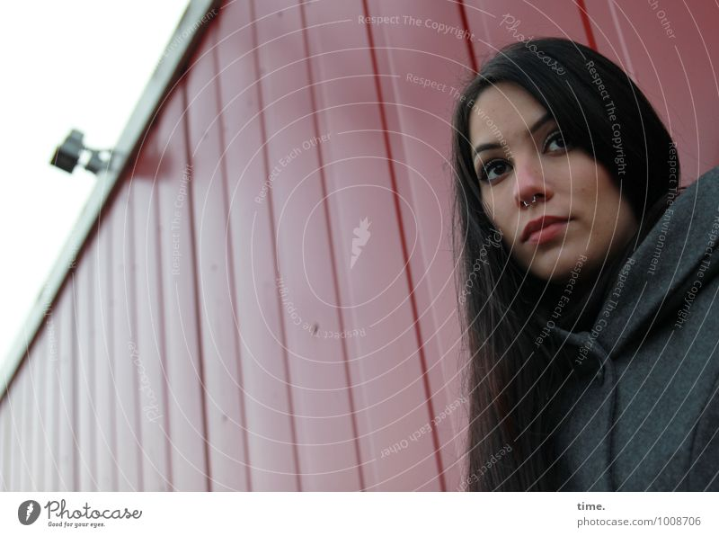 . Surveillance camera Feminine 1 Human being Container Coat Piercing Black-haired Long-haired Observe Think Looking Wait Friendliness Beautiful Safety