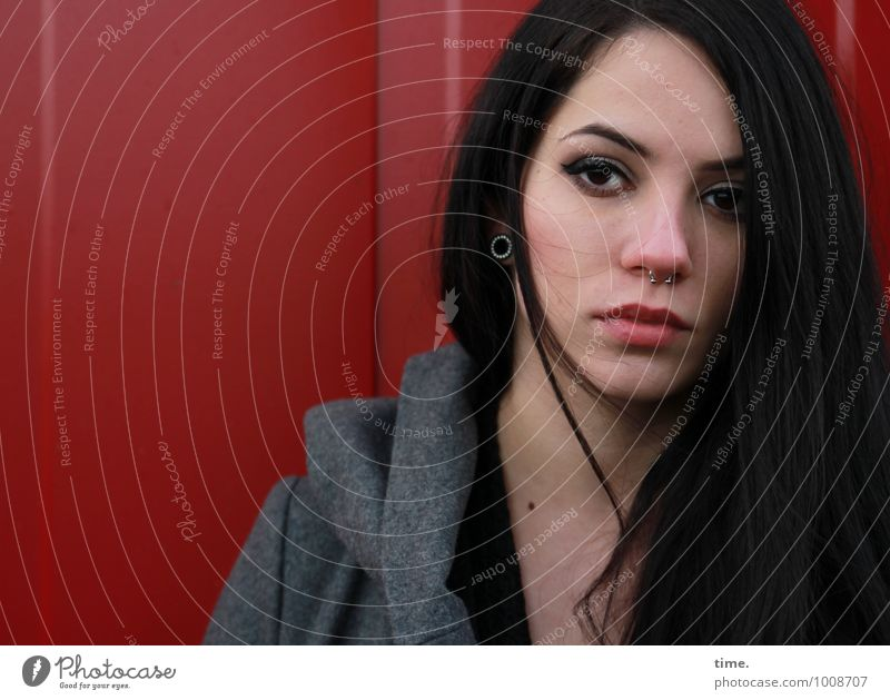 . Feminine Young woman Youth (Young adults) 1 Human being Container Coat Piercing Earring Black-haired Long-haired Observe Looking Wait Dark Beautiful