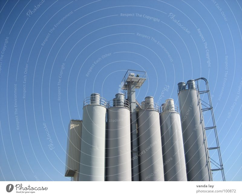 Sky Blue Work and employment Building Concrete Industry Stairs Tower Steel Ladder Chimney Midday Silo Shift work Gravel plant